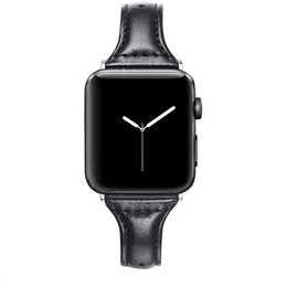 Wholesale apple leather loop resale online - T Slim Geniune Leather Strap for Apple Watch band with metal clip iwatch mm mm mm mm loop Smart watchband bracelet accessoires