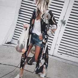 beach cover up shirt 2021 - Women Chiffon Kimono Cardigan Floral Printed Long Sleeve Blouse Spring Summer Beach Cover Up Long Tops Boho Loose Ladies Shirts
