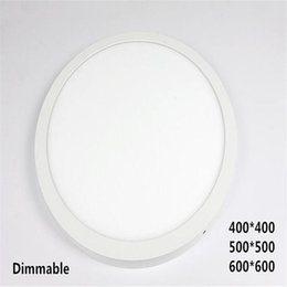 48w led panel lights UK - 110V 220V Dimmable 32W 36W 48W led round square panel light 400*400mm 500*500mm 600*600mm surface down light with driver