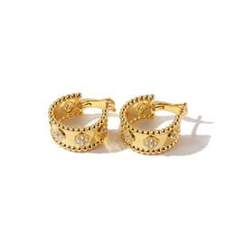 Venta al por mayor de 2021 Fashion Classic Classic 4 / Four Leaf Clover Charm Stud Pendientes Pendientes Real 18k oro chapado en diamantes para mujeres $ chicas (con caja)