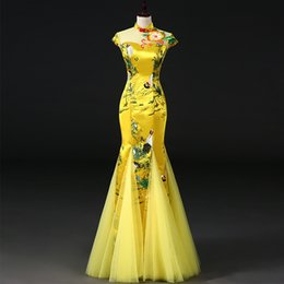 Wholesale cheongsam for sale - Group buy Yellow Chinese style Women Cheongsam Retro Sexy Slim Party Qipao Fashion Lady Vestido S xl Wcny
