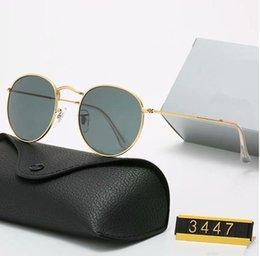 Опт Оригинальные Классические круглые Солнцезащитные очки Бренд Дизайн UV400 Очки Металл Золотая Рамка Солнцезащитные Очки Мужские Женщины Зеркало 3447 Солнцезащитные Очки Поляроидный Стекло Линзы