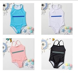 ingrosso ragazze bikini-Bambini Bikini Girls Costumi da bagno Bambino Bikini Summer Split Fashion Letter Stampato Beach Chidren Swimsuit One Piece Colors