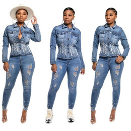jeans lourds achat en gros de-news_sitemap_home2021 Automne Jeans Coat Femalsexy Heavy Industrie Veste en jean Perlée Top Fashion Rivet Short Denim Jacket Coat Femmes Coton