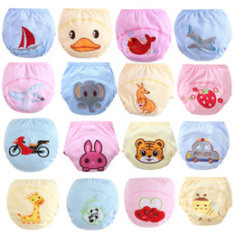 Discount xl washable cloth diapers Free DHL 16 Styles INS Cartoon Animals Printed Diapers Pants Shorts Infant Girls Boys Cotton Elastic Training Reusable Kids Boys Cloth Nappy