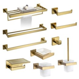 bathroom hardware Australia - Gold Bathroom Accessories Hardware Set 304 Stainless Steel Paper Holder Bath Towel Rack Hooks Soap Dish Toilet Brush Toothbrush1