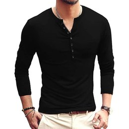 mens henley t shirt UK - Mens T-Shirts Casual Slim Fit Basic Henley Short Long Sleeve Cotton Shirts Button Summer Solid Soft Fashion T-Shirts S-2XL