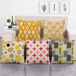 Discount colorful geometric pillows 45cm*45cm Abstract simple colorful geometric cushion cover linen cotton sofa pillow cover decorative pillow case