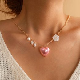 Discount hot pink choker necklace Hot Fashion Long Pink hearts Pearl Necklaces Diamond-studded multi-layered clavicular chain Women Choker Love Hearts Jewelry A4230