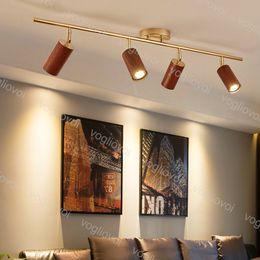 Luci della pista Stile in legno Alluminio Modern Lamp Spot LED Rail Fixtures AC85-265V per Home Spotlight Systems Living Room Shop Negozio DHL in Offerta