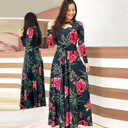 Vente en gros Fleur imprimé hiver robe femme casual bohemia robes à manches longues pour femmes élégant plus taille maxi vestidos robe d'automne 210222
