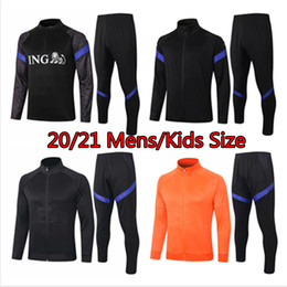 ingrosso maglia marrone mens xl-21 NLD Holland Mens Jacket Kids Giacca Nazionale Team Boys Tracksuit Soccer Jersey Child de Ligt Training Suit Dutch Children PRE maglia