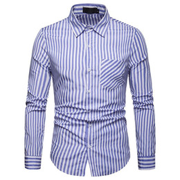 Wholesale strip shirts resale online - Men Fashion Long Sleeve Vacation Casual Work Stand Collar Wedding Shirt Apparel Comfort Top Male Business Stripped Design Blouse