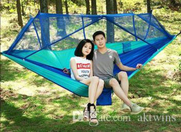 Wholesale Parachute Hammock Outdoor Mosquito Net Hammocks 2 Persons Hanging Bed Camping Hunting Hamac Garden Swings 12 Colors Optional XH1008