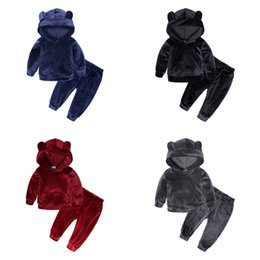 Wholesale gold black clothes boys resale online - Baby Boy Clothes winter Gold velvet Boy Clothing Set Long sleeves Leisure boys t shirt Pant Kids Tracksuit Y2