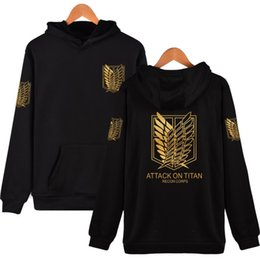 Wholesale titan men for sale - Group buy Men Hoodies Attack On Titan Harajuku Hooded Sweatshirt Recon Corps Design Pullovers Hip Hop Clothing