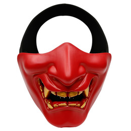 evil face masks 2021 - Halloween Mask Prajna Masks Half Face Cosplay Evil Demon Monster Decoration Kabuki Samurai Hannya Oni Party