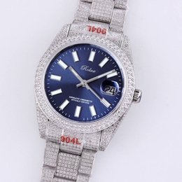 Top Full Diamond Mens Watch Automatic Mechanical Watches 40.6mm Sapphire Mirror Stainless Steel Wristband Diamonds Bezel Men Wristwatch Fashion Montre De Luxe Gift