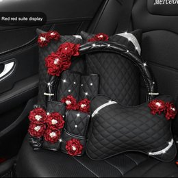 green steering wheels Australia - Retro Red Rose Flower Series Original Design Car Steering Wheel Cover Handbrake Cover Perfume Bottle Car Headrest Waist Pillow