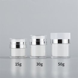 acrylic 15g cosmetic jars 2021 - 15G 30G 50G Cosmetic Jar Acrylic Cream Refillable Vacuum Bottle Press Style Cream Jar Vials Airless Cosmetic Container