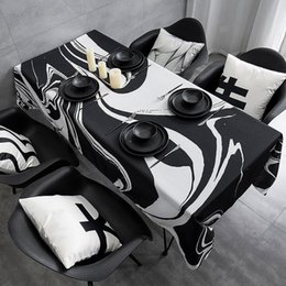 Wholesale Black and white waterproof tablecloth fabric tablecloth rectangular coffee table desk cloth