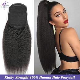 Кудрявые волосы Drawstring Ponytail Extension Remy 10-28 дюймов Длинный клип в хвостике Бразильский Глубокий вьющиеся человеческие волосы наращивание воды на Распродаже