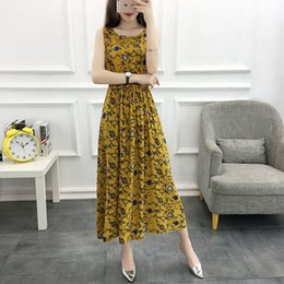 Wholesale summer waistcoats women resale online - 2021 Summer Women Boho a Cotton Line Waistcoat Women s Floral Printed the Neck Beach Dressed Lady Party Elegant Dress Z472 V9kv