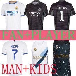 Toptan satış Yıldız Gerçek Madrid Jerseys 20 21 22 Benzema Tehlike Özel Kaleci Basketbol Ramos ISCO Savaşları 2021 2022 Camiseta Futbol Futbol Gömlek Erkekler Kids Seti Oyuncu Sürümü