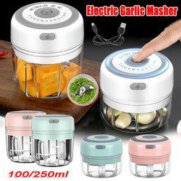 Großhandel 100/250 ml Mini USB Wireless Elektrische Mühle Knoblauch Maser Robuste Presse Mincus Gemüse Chili Fleisch Lebensmittel Chopper Küchenwerkzeuge