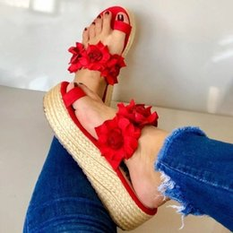 tie slip dress Canada - Women Casual Daily Flower Slip On Platform Sandals 2020 Summer Cute Ladies Beach Dress Flat Shoes Dropshipping Female Snadals J2023