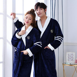 Wholesale robe men resale online - Couple Men Women Warm Super Soft Flannel Coral Fleece Bath Robe Mens Kimono Bathrobe Male Dressing Gown Robes