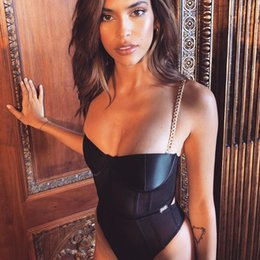 Summer Chain Straps Push Up Sexy Women Rompers Womens Jumpsuit Black Mesh Lace Bodysuit Club Party Streetwear Vjag on Sale