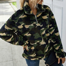 Wholesale fleece jackets women for sale - Group buy New Autumn Winter Women Fleece Coat Fashion Plaid Camouflage Print Zipper Turndown Collar Long sleeved Jacket Lady Warm Tops