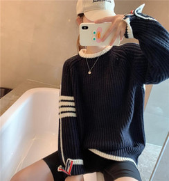 Discount fall sweaters Fall 2021 Women Clothing Luxury Winter College Style Thick Needle Knit Pullover Loose Sweaters Casual Stripes Colorblock Tops