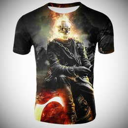 mens skeleton t shirt print Canada - 2021 mens skull t-shirt modern summer short sleeves ghost Knight T-shirt blue 3D skull print T-shirt Flint skeleton