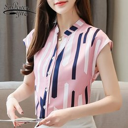womens office blouse 2021 - women blouses plus size tops short sleeve V collar office striped chiffon blouse women shirts womens tops and blouses 4325 50