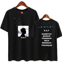 Wholesale bap shorts for sale - Group buy Bap second noir all member name printing o neck short sleeve t shirt summer kpop b a p supportive t shirt