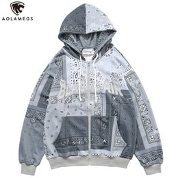 totem hoodie Australia - Aolamegs Men Zipper Hoodies Vintage Totems Letter Embroidery Streetwear Casual Baggy All-match Autumn Hooded Sweatshirt Coat men 201127