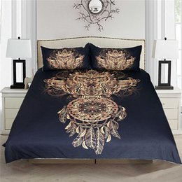 owl bedding set full Canada - 2021 New Gold Assemblies Owl Wind Bells Black Printed 3d Hee Bohemian Joint Bed Cover 1sf5