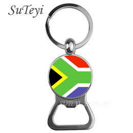 Wholesale south african flag resale online - Key The African Bottle Nigeria Africa National Flag Chain Ring South Opener Niger Fashion Beer Men Keychain Pendant Chrid