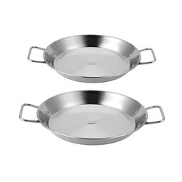 Discount cooks cookware Stainless Steel Non-Stick Paella Pan Spanish Seafood Frying Pot Wok Cheese Cooker Cooking Pan Kitchen Cookware