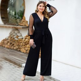 Wholesale jumpsuit wide legs for sale - Group buy Ladies Jumpsuits Women Black Plus Size Casual Mesh Stitching Long Sleeve V neck Lace Belt Wide Leg Bodysuit Mono Mujer
