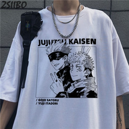 Wholesale anime shirts for sale - Group buy Harajuku Men s tshirt Jujutsu Kaisen Printed Unisex Short Sleeve T shirt Cool Cartoon Anime Casual T shirt Male Streetwear Tops L0223