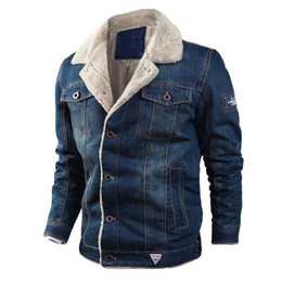 Wholesale demin jackets resale online - Men s Jackets Demin Jackets Winter Fleece Thick Casual Jean Jacket and Coat Windproof Warm Cotton Jacket Windbreaker Clothes Plus Size XL