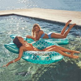 US STOCK Mermaid With Backrest Pool Inflatable Swimming Ring Adult Swimming laps Pool Floating Ring Swimming Pool Beach Party Toys