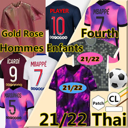 Wholesale roses s for sale - Group buy New soccer jerseys fourth Rose Gold Version MBAPPE VERRATTI MARQUINHOS KIMPEMBE DI MARIA KEAN football Jersey Men Kids Kits