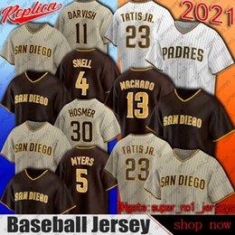 Padres 23 Fernando Tatis JR JERSY 13 Manny Machado Jerseys San Diego Baseball Wil Myers Yu Darvish Jersey Eric Hosmer Trent Grisham Jerseys in Offerta