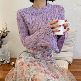 Wholesale bell sleeve sweaters for sale - Group buy 2021 New Girl s Hollow Korean style Purple Bell sleeve Knitted Hole Mesh Sweater Top Shmf