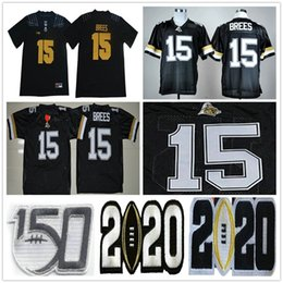 drew brees jerseys Australia - Ncaa Purdue Boilermakers College Football #15 Drew Brees Jersey Home Black Stitched Drew Brees 150th University Jerseys Shirts Sizes S-xxxl