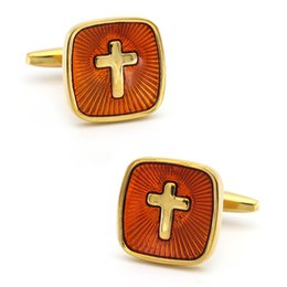 golden cuff links Australia - Men's Cross Cuff Links Golden Color Quality Brass Material Pastor Design Cufflinks Wholesale & Retail
